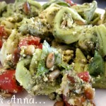 This basil, pesto, tortellini pasta salad is fresh and delicious, the perfect summer dinner or BBQ side dish. The fresh flavors of the basil, pesto and feta are balanced beautifully by the nuttiness of the pine nuts and creamy cheese tortellini.