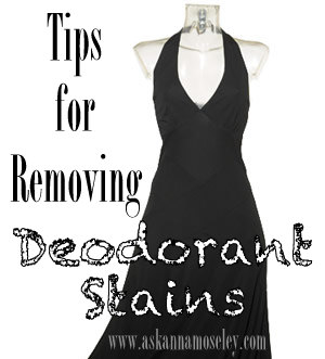 This post gives you two simple home remedies for how to clean deodorant stains from dark clothes. You'll be surprised at how easy it is | Ask Anna