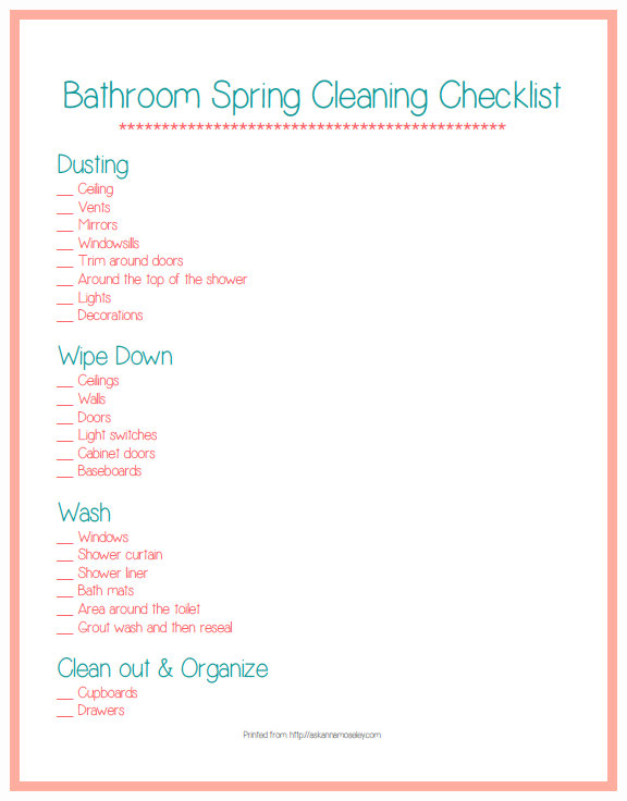 Printable spring cleaning list for the bathroom, everything you need to know to get your bathroom fresh, clean and ready for guests! | Ask Anna