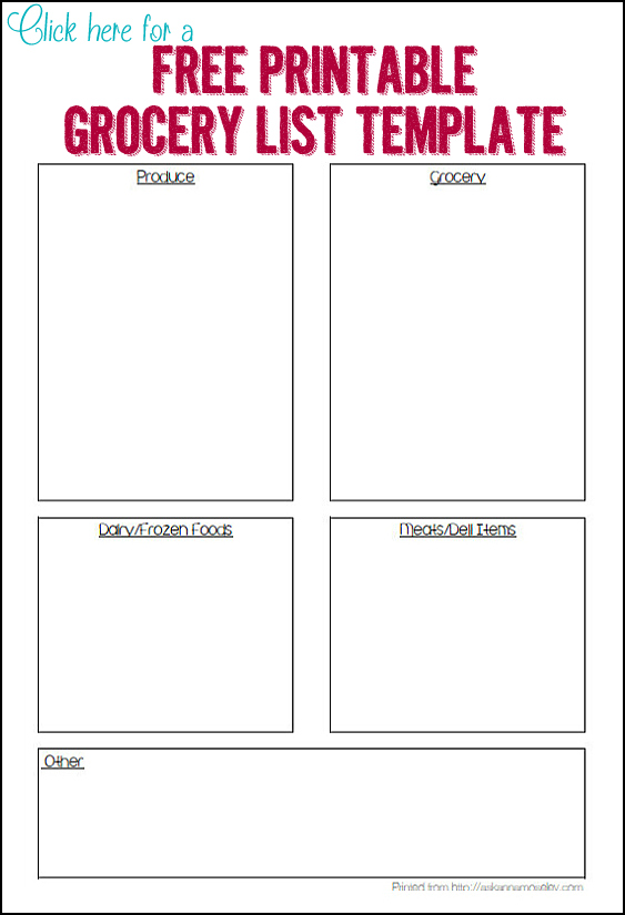 Printable grocery template - Ask Anna