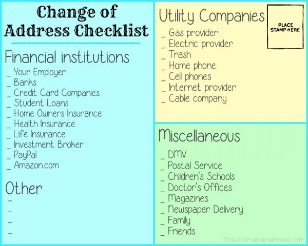 Change of address checklist - Ask Anna