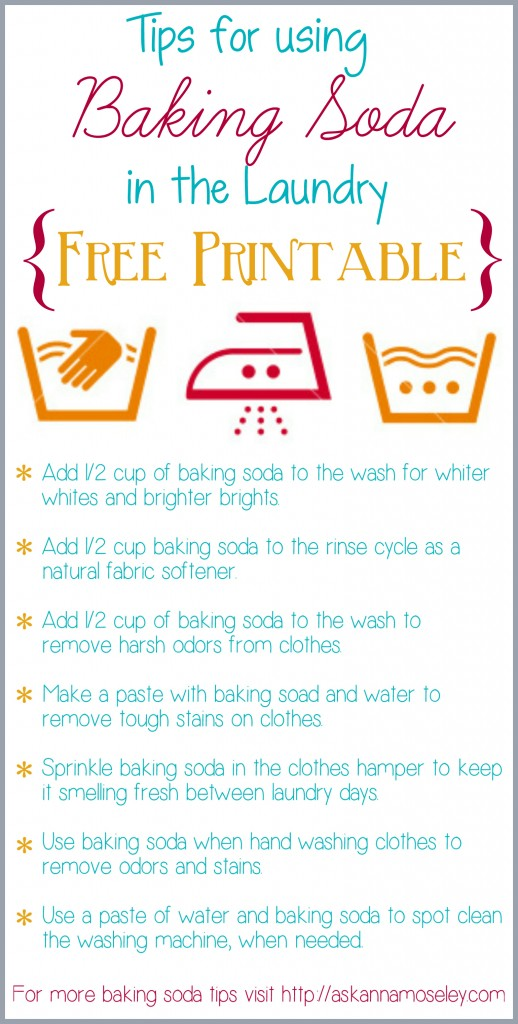 Tips for using Baking Soda in the Laundry {free printable} - Ask Anna