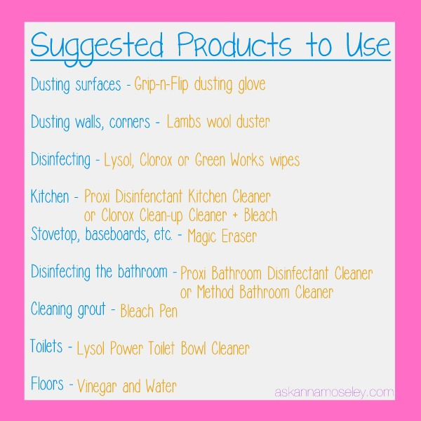Move in checklist & products to use for cleaning - Ask Anna