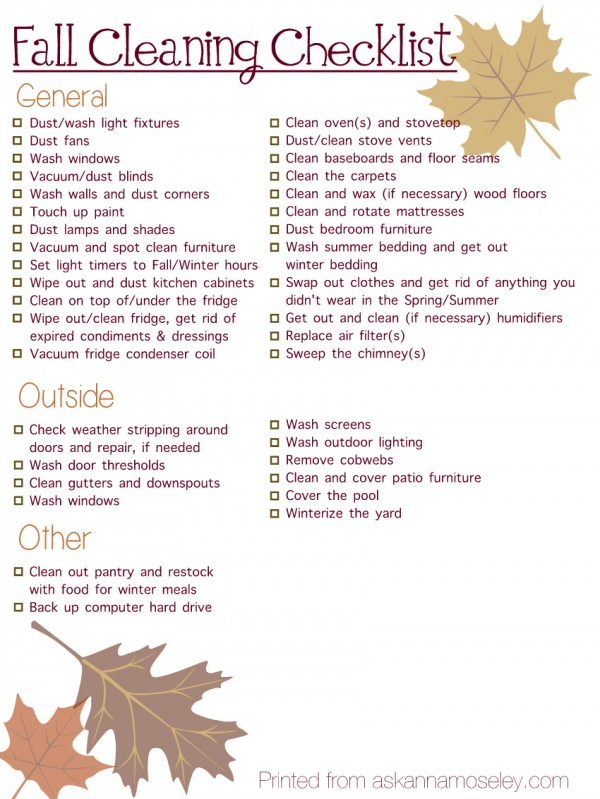 Fall cleaning checklist - Ask Anna