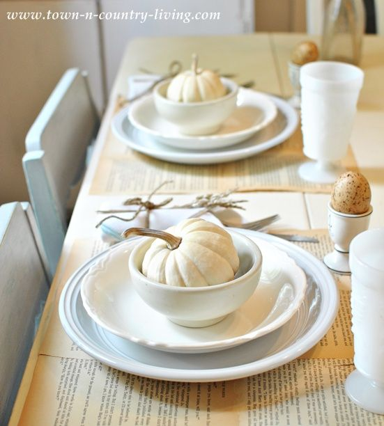 Thanksgiving white table setting