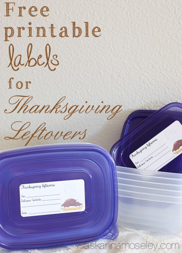 Free printable labels for Thanksgiving leftovers - Ask Anna