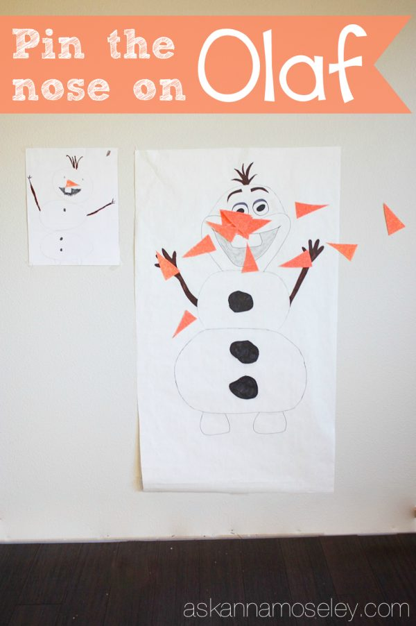 Pin the nose on Olaf, Frozen party idea - Ask Anna