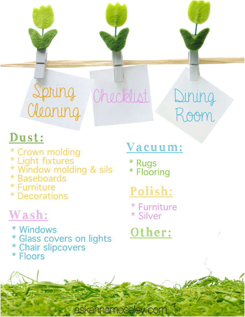Spring Cleaning checklist - dining room