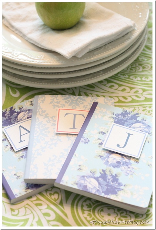 Monogrammed notebooks for a teacher