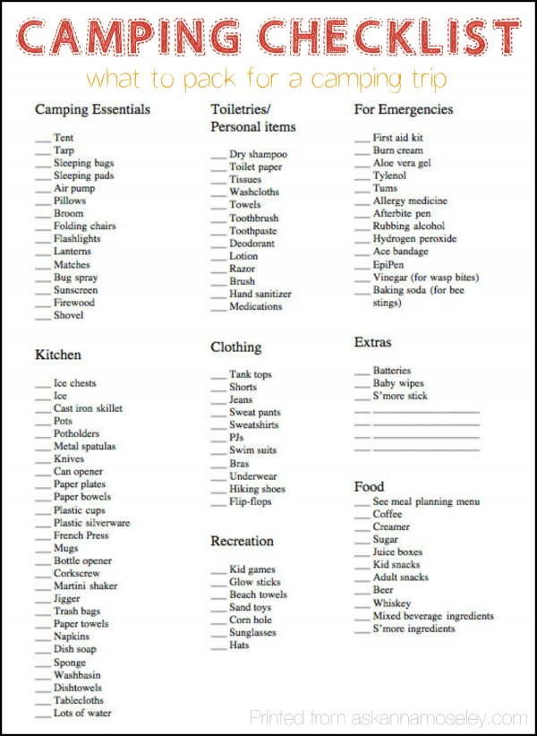 Camping checklist - what to pack