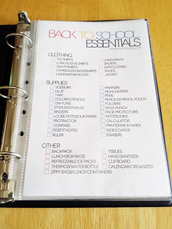 Printable Back to School Organizer Kit