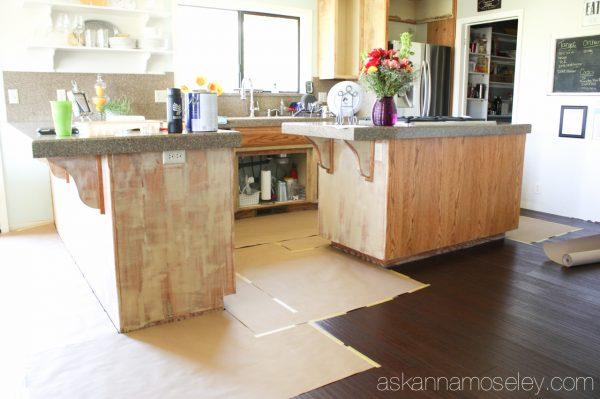 How to fill in oak grain on cabinets
