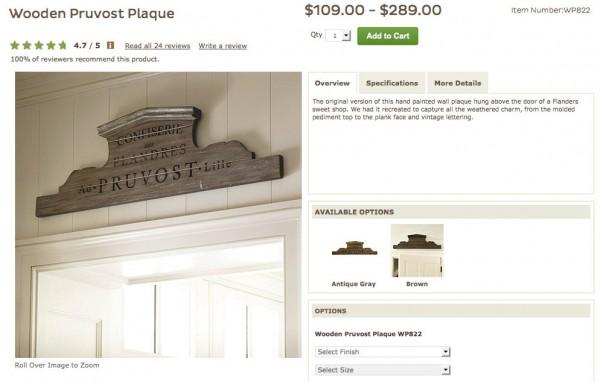 """Ballard Designs """"Pruvost"""" plaque"""