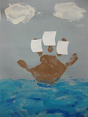 Columbus Day finger painting
