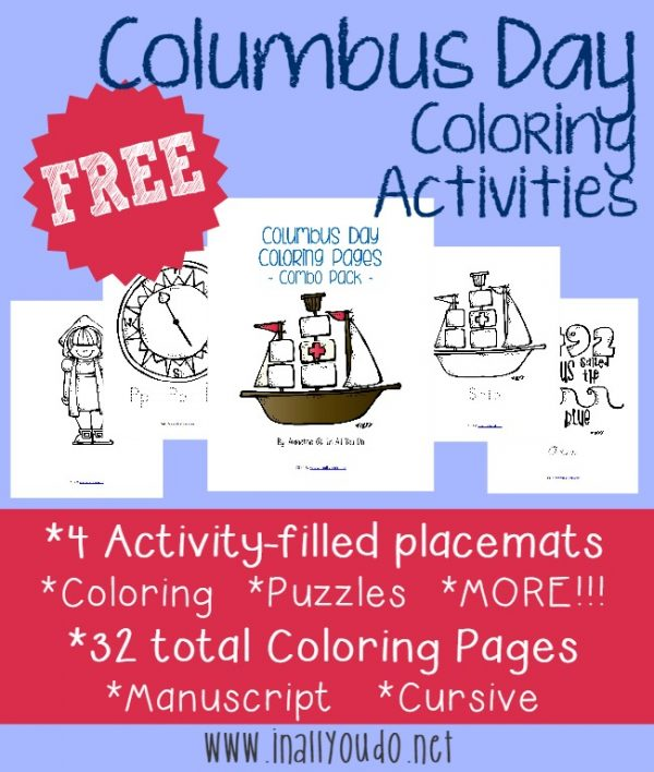 FREE Columbus Day Coloring Activities