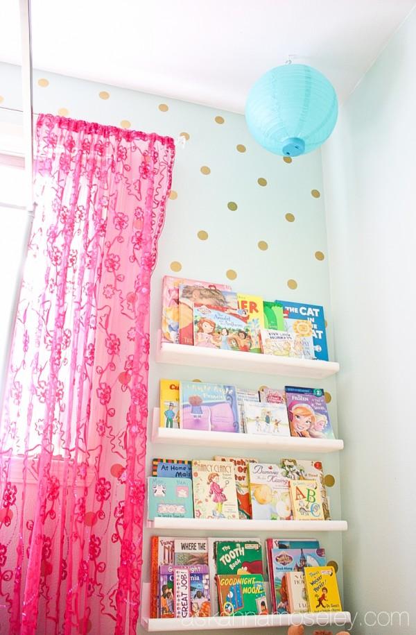 Girl's bedroom polka dot wall and diy bookshelves - Ask Anna
