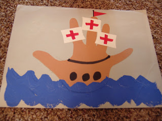 Handprint sailboat