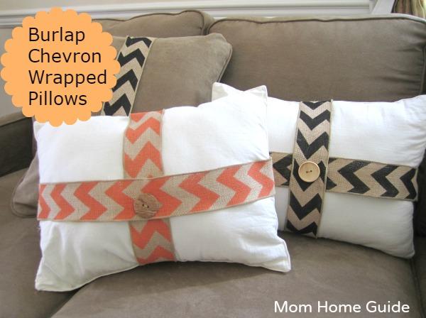 Burlap wrapped pillows
