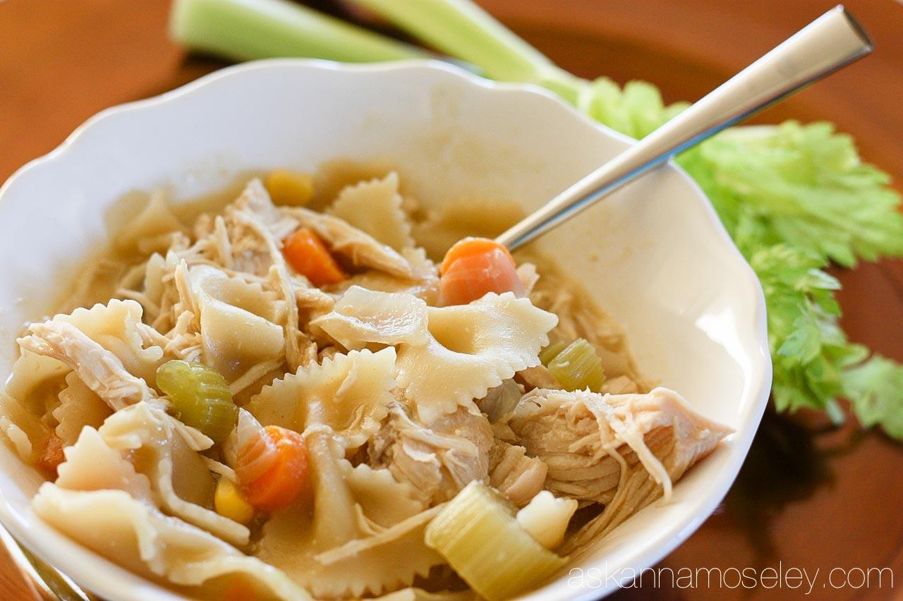 The BEST crockpot chicken noodle soup - Ask Anna