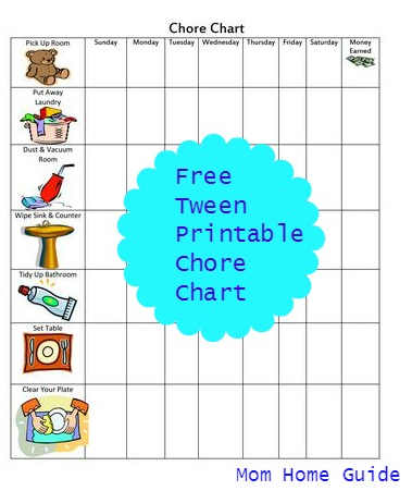 Tween printable chore chart