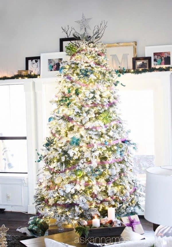 Flocked peacock themed Christmas tree - Ask Anna