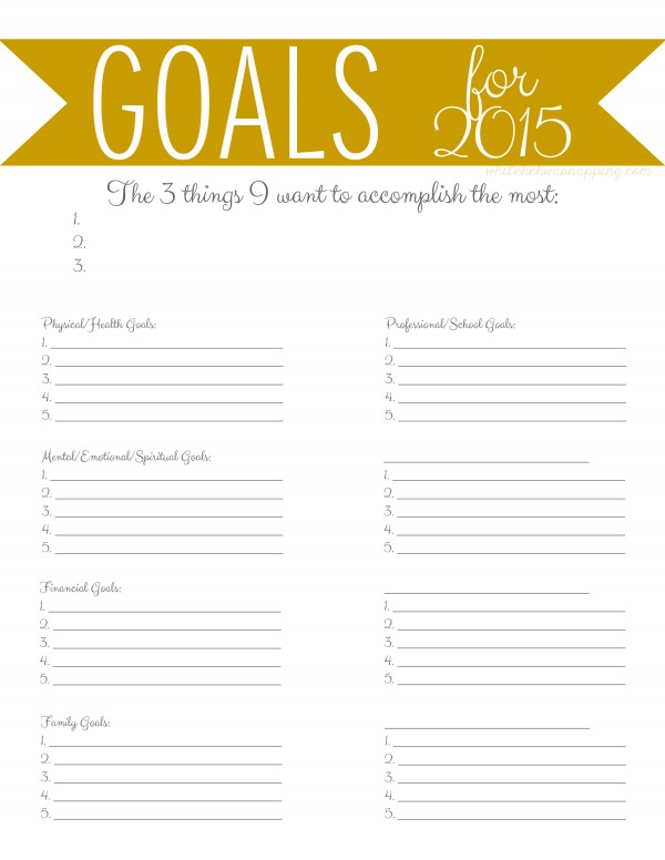 New Goals for a New Year Printables