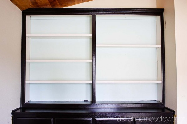 Office bookshelf makeover with Old Village Paints gel stain, in Ebony
