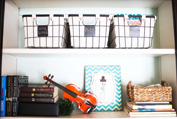 Office organization tips with BHG baskets from Walmart - Ask Anna