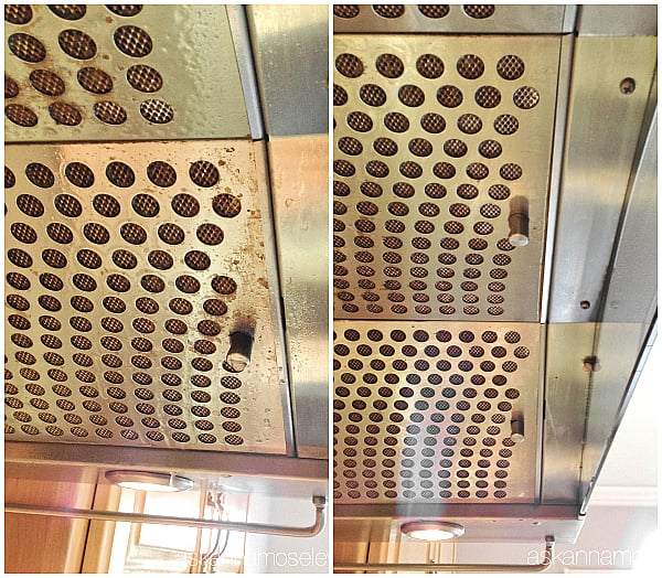 Cleaning a range hood, before and after cleaning it with the steam machine - Ask Anna