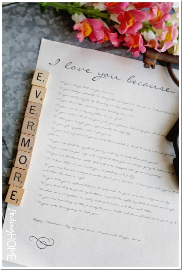 "Tell your husband how much you love him with an ""I love you because..."" love letter"