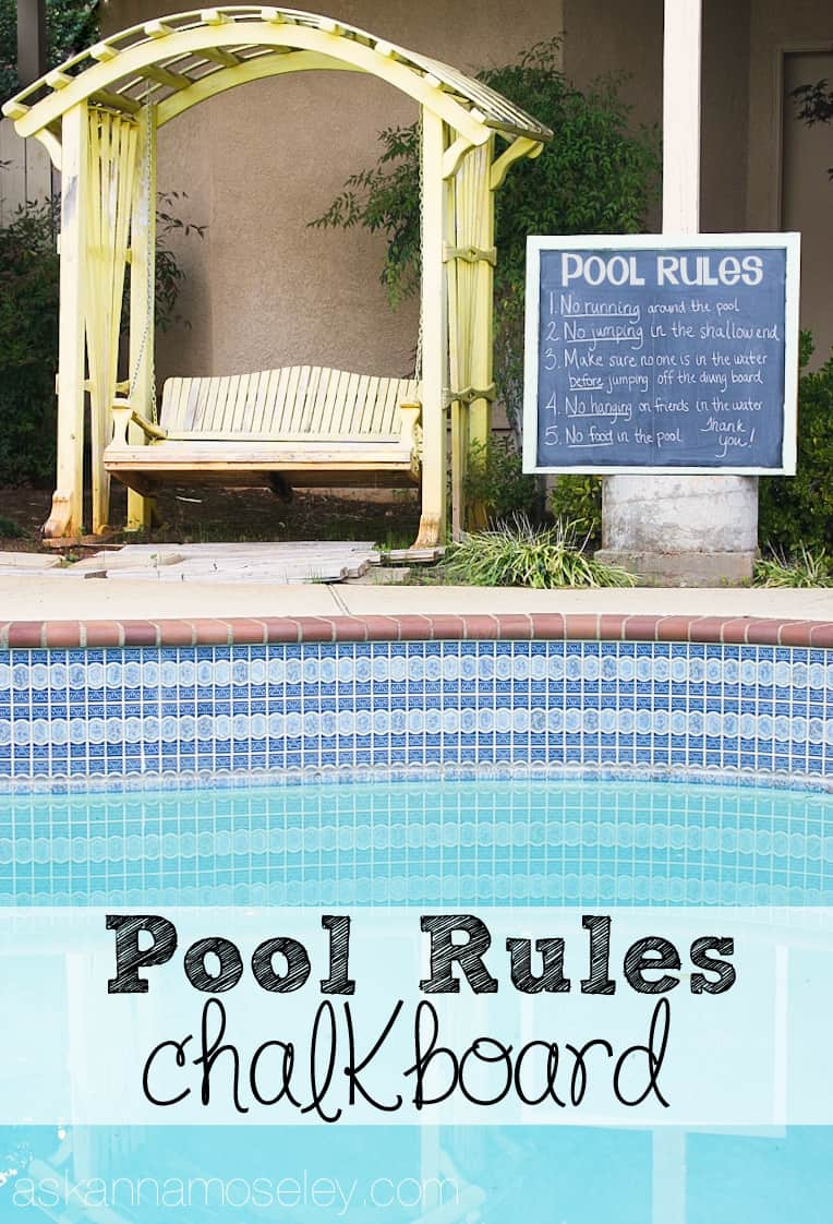 DIY Pool rules chalkboard - Ask Anna