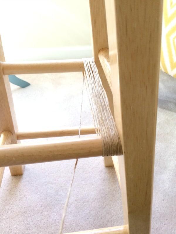 DIY stool table, twine