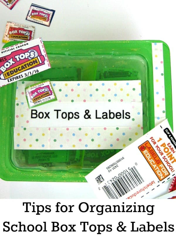 Tips for Organizing Box Tops & Labels for Education