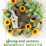 Spring and summer birdhouse wreath, step-by-step tutorial