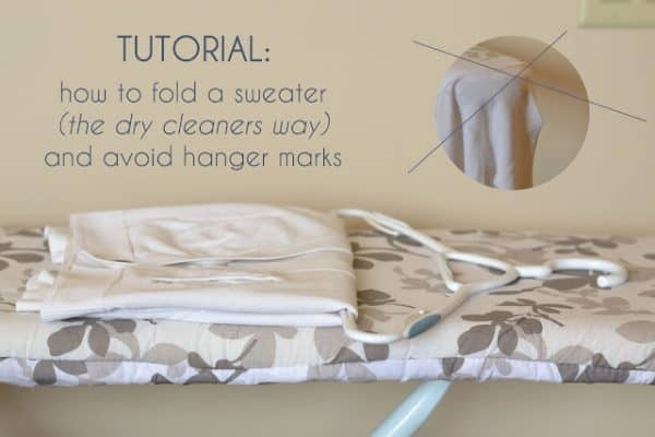 Have you ever wondered how the dry cleaners hang sweaters so perfectly? Well here's a super simple tutorial that will tell you exactly how to do it so you don't get hanger bumps on your shoulders anymore!