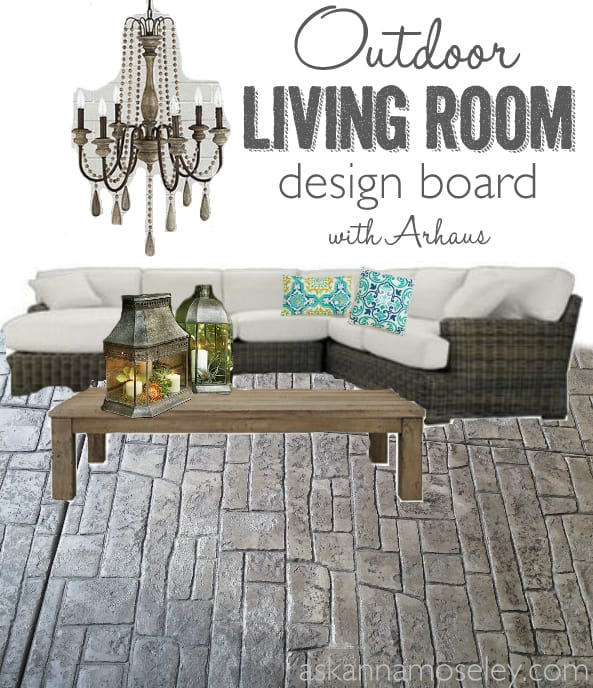 Outdoor living room design board - Ask Anna