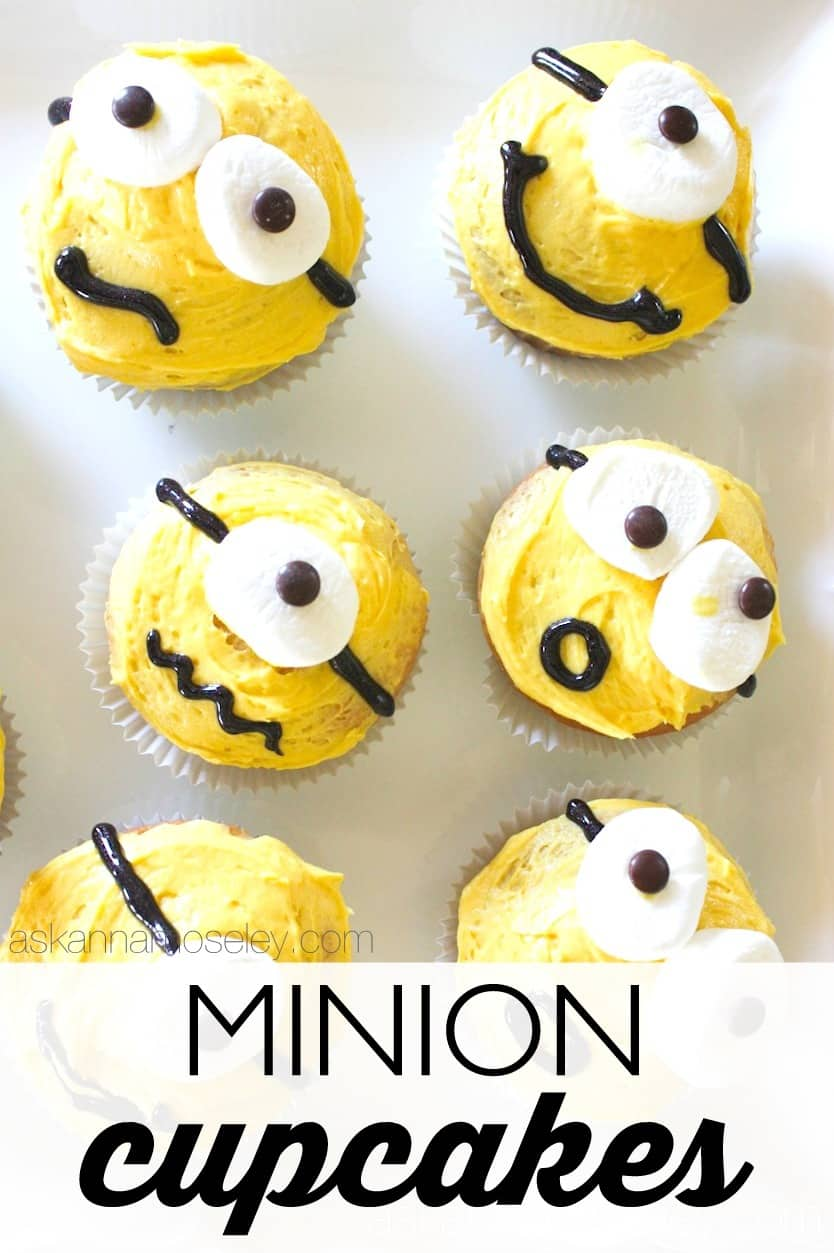 Minion cupcakes to celebrate the new Minion movie - Ask Anna