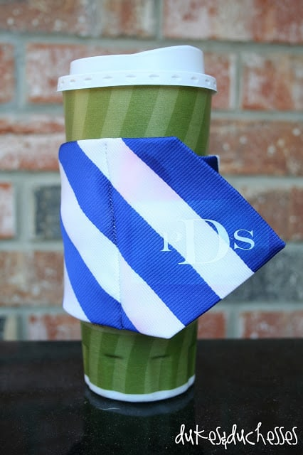 Monogrammed Necktie Coffee Cuff by Dukes and Duchesses