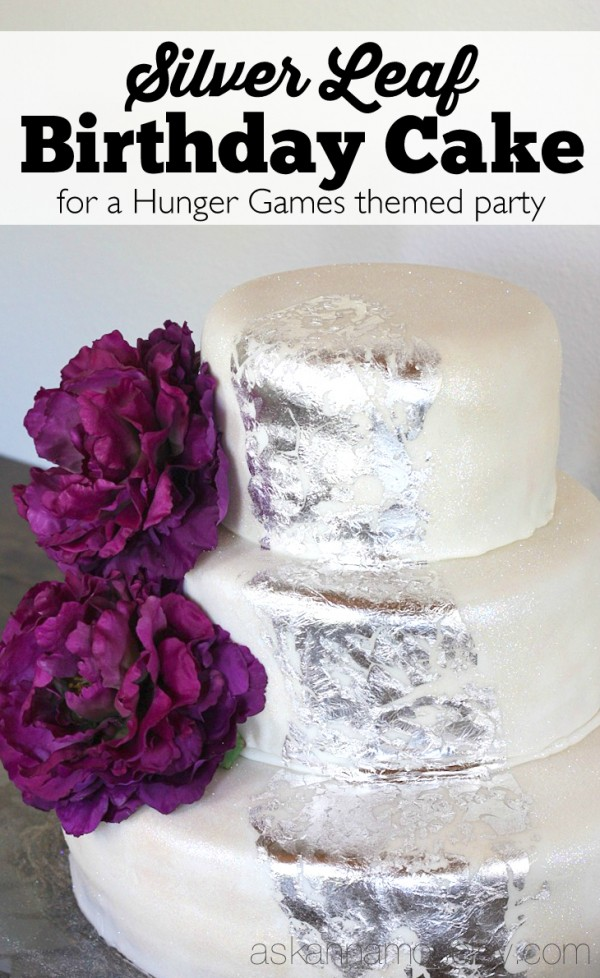 Silver leaf birthday cake for a Hunger Games birthday party - Ask Anna