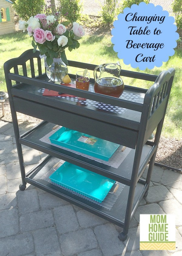 DIY beverage cart from a changing table
