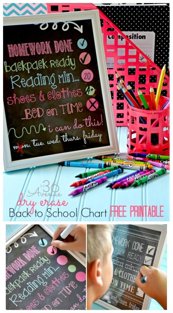 Week night checklist for the school year - the 36th Avenue