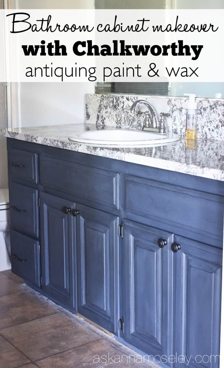 Bathroom vanity makeover with Chalkworthy antiquing paint - Ask Anna