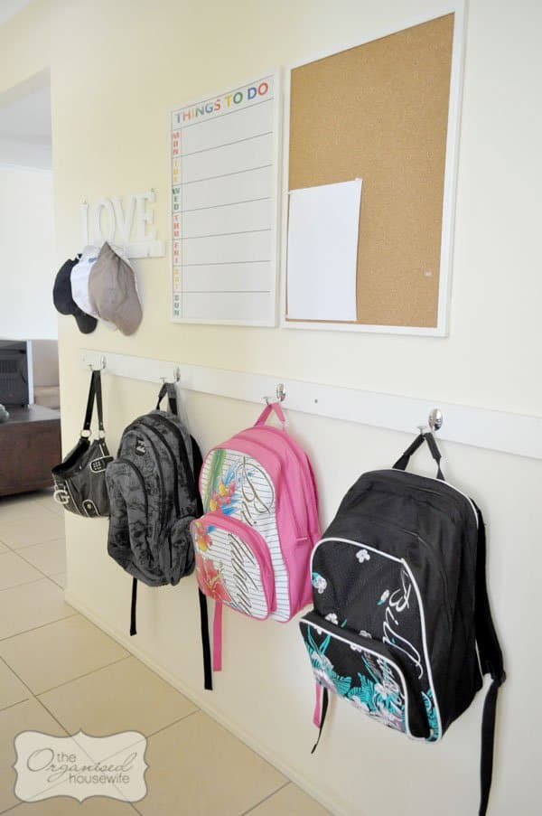 School bag organization from The Organised Housewife