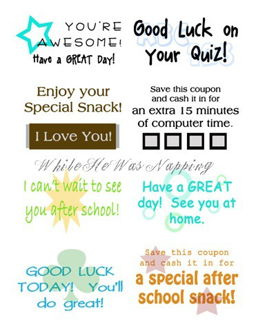 Free, printable school lunch notes from While He Was Napping
