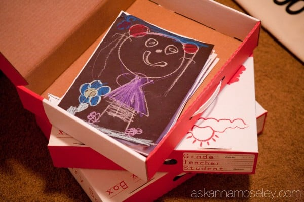 School work organization boxes to help you keep your kids' work organized througout the years - Ask Anna