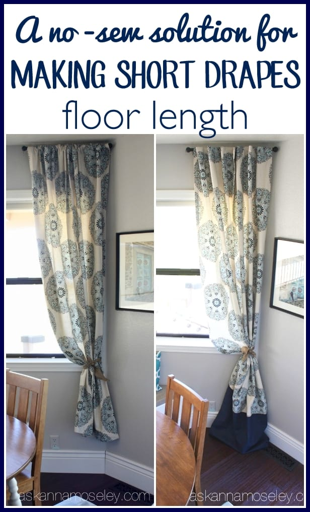 An inexpensive, no-sew solution to make short drapes floor length - Ask Anna