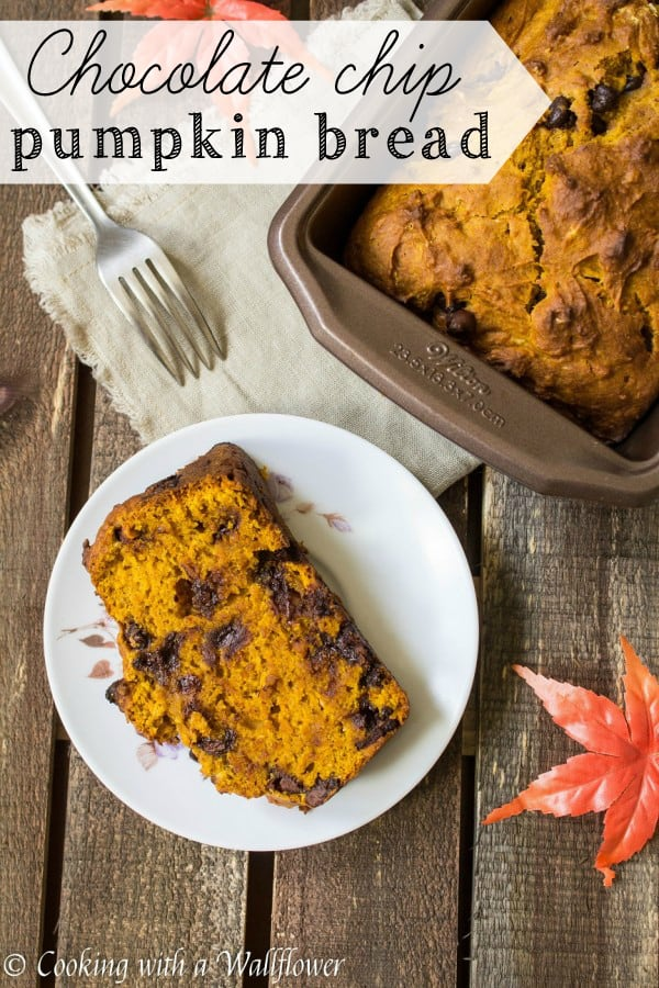 Moist pumpkin bread filled with semi-sweet chocolate chips in every bite. This delicious chocolate chip pumpkin bread is a great way to start fall mornings.