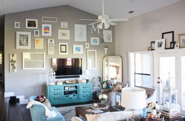 Living room gallery wall with my kids' artwork - Ask Anna