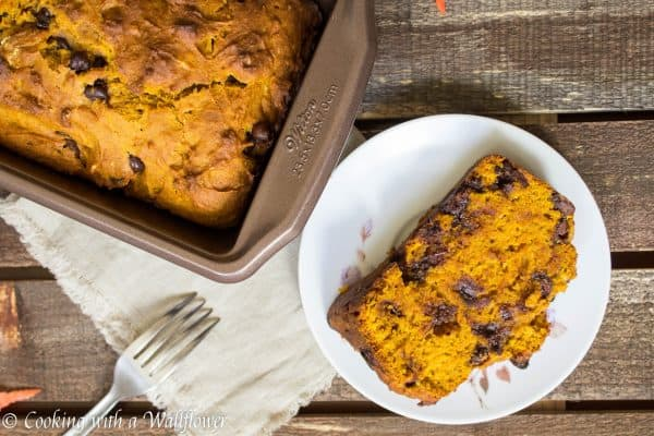 Pumpkin Chocolate Chip Bread - Cooking with a Wallflower