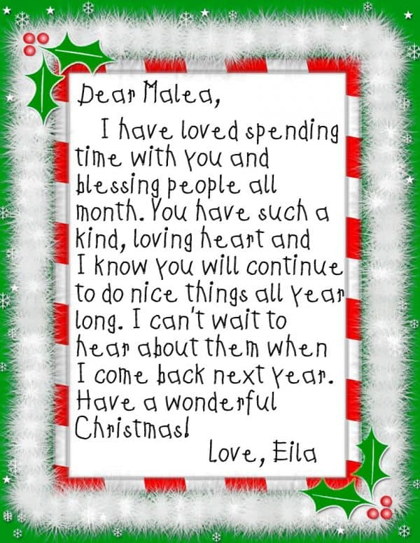 Goodbye letter from our Elf that thanks our daughter for all the kind deeds she did, and encourages her to continue throughout the year. | Ask Anna